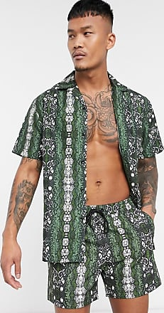 South Beach swim shorts in snake print-Green
