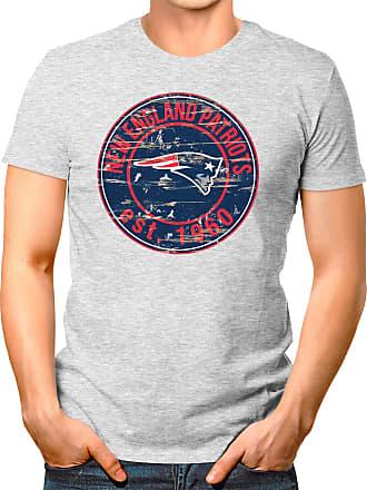 OM3 New-England-Badge - T-Shirt | Mens | American Football Shirt | 3XL, Heather Grey