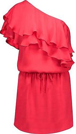 1c6586013ba9 Haute Hippie Haute Hippie Woman One-shoulder Ruffled Silk Mini Dress Papaya  Size XL
