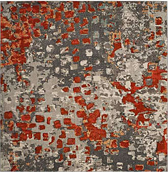 Safavieh MNC225H-5SQ Monaco Collection Area Rug, 5 Square, Grey/Orange