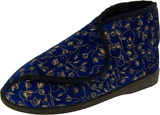 Footwear Studio Womens Navy Adjustable Slipper Boots, Navy, 6 UK