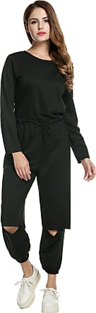 Zeagoo Womens Casual Wear Long Sleeve Ripped Sport Jumpsuits Rompers