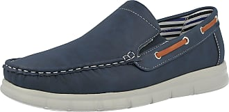 Cushion-Walk Mens Faux Leather Slip On Classic Boat Deck Casual Loafers Shoes Size 7-11 (UK 7/ EU 41, Navy)