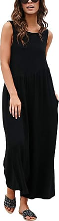 TOMWELL Womens Round Neck Drawstring Backless Solid Color Jumpsuits Rompers Wide Leg Boho Playsuit Black UK 14