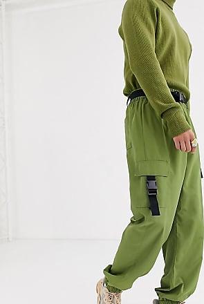 Collusion Cargohose aus Nylon mit Schnallen-Grün