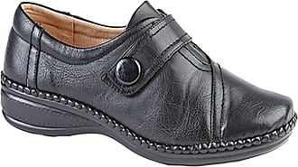 Boulevard Womens Ladies Extra Wide EEE Fit Velcro Casual Shoes Size 3 - 9 BLACK (9)