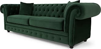 MADE.COM Branagh 3-Sitzer Sofa, Samt in Tannengruen