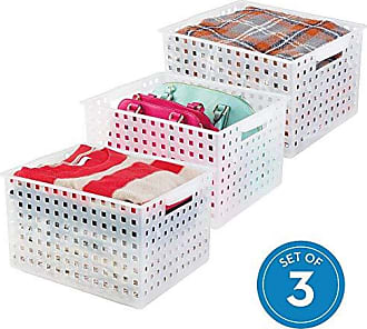InterDesign iDesign Modulon Plastic Storage Organizer Basket with Handle for Bathroom, Health, Cosmetics, Hair Supplies, Beauty Products, 14.25 x 11.25 x 8.5, Set of 3 - Frost White