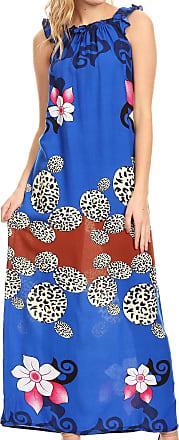 Sakkas 18209 - Abby Womens Casual Long Tropical Off Shoulder Dress Elastic & Floral Print - Royal Blue - L