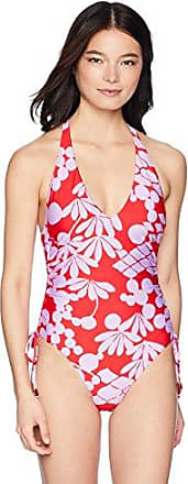Trina Turk Womens V-Front Keyhole Halter One Piece Swimsuit