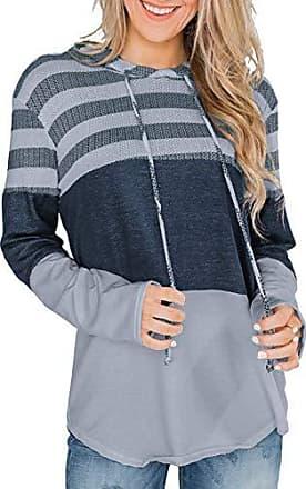 Damen Hoodie Sweatshirt Patchwork Pullover Sport Pulli Freizeit Langarm Tunika