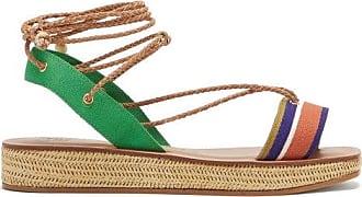 ÁLVARO GONZÁLEZ Tolga Leather Wraparound Wicker Flatform Sandals - Womens - Tan Multi