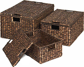 Best Choice Products Set of 3 Woven Water Hyacinth Baskets - Brown