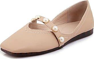 2316545bdc6a82 Aisun Damen Klassisch Kunstleder Quadratische Zehen Perlen Riemchen Low Top Flach  Ballerinas Pink 30 EU
