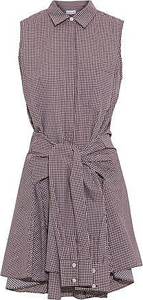 Derek Lam Derek Lam Woman Tie-front Gingham Cotton-poplin Mini Dress Burgundy Size XS