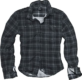 Brandit Wire Shirt Men Longsleeve Dark Grey-Black M, 100% Cotton, Regular