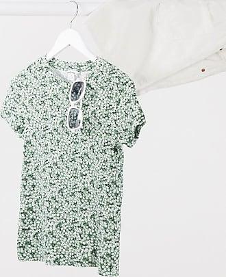 Monki Magdalena - T-shirt in cotone organico verde a fiori