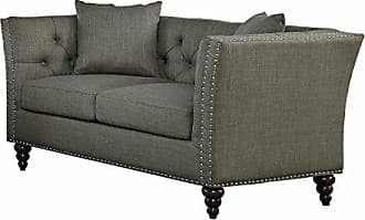 Homelegance Marceau Tuxedo Style Loveseat with Flared Arm and Double Nailhead Accent, Button Tufted with Two Toss Pillows, Gray