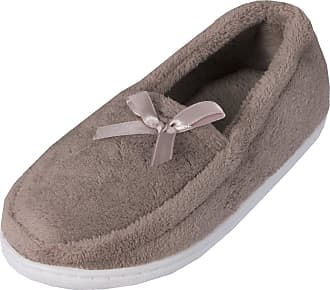 Forever Dreaming Womens Plain Memory Foam House Shoes Fur Moccasin Slippers with Ribbon Taupe 6