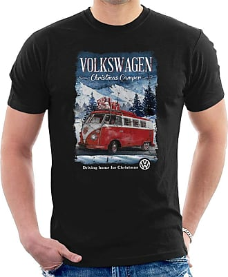 Volkswagen Christmas Camper Driving Home Mens T-Shirt Black