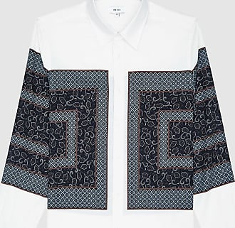 Reiss Darcy - Paisley Colour Block Shirt in White, Mens, Size XXL
