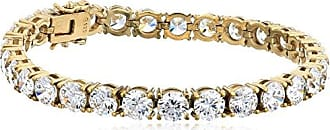 Amazon Collection Yellow Gold Plated Sterling Silver Tennis Bracelet set with Round Cut Swarovski Zirconia, 7.25