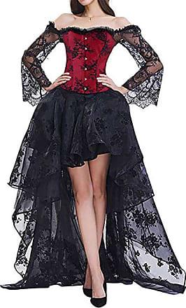 EUDOLAH Womens Gothic Steampunk Steel Boned Corset Dress Skirt Set Costume (UK 14-16 (2XL), Black Red)