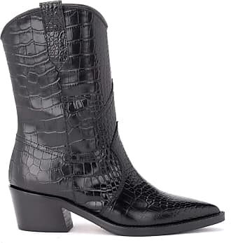 Via Roma 15 Texan Black Ankle Boot in Crocodile Print Leather