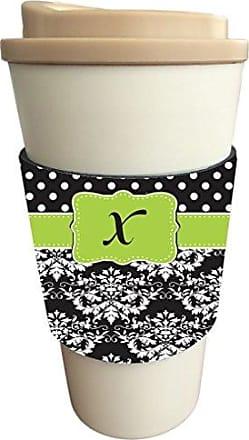 Rikki Knight InitialX Lime Green Black Damask Dots Design Latte Beverage Insulator, Black