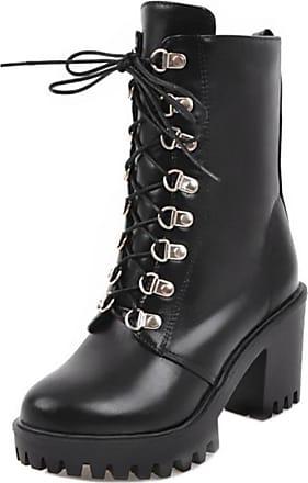 RAZAMAZA Women Winter Combat Lace up Platform Chunky Block Heel Ankle Boot (37 AS, Black)