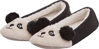 Forever Dreaming Ladies Womens Novelty Faux Fur Animal Panda Unicorn Slipper Indoor Textile Sole Black