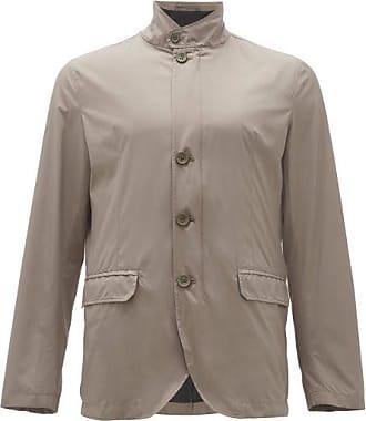 Herno Band-collar Rain Jacket - Mens - Cream
