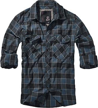 Brandit Checkshirt Men Longsleeve Blue-Grey-Black XL, 100% Cotton, Regular