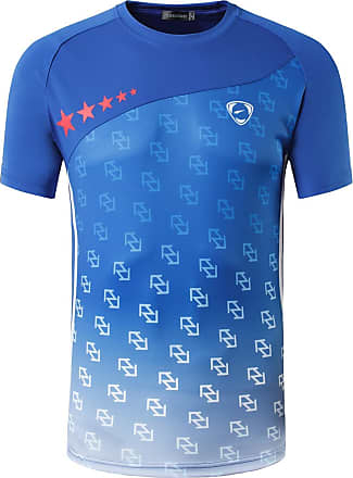 Jeansian Mens Sports Breathable Quick Dry Short Sleeve T-Shirts Tee Tops Running Training LSL232 Blue XL