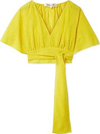 Diane Von Fürstenberg Cropped Devoré-voile Wrap Blouse - Bright yellow