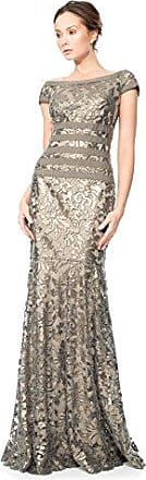 1b97acc781c2c Tadashi Shoji Womens Sequin Lace-Cap SLV-Waist Ribbon Detail Gown, Smoke  Pearl