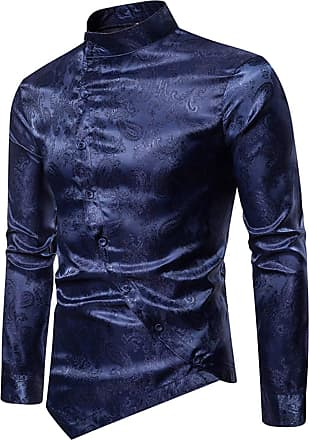 Whatlees Mens Vintage Long Sleeve Baroque Design Button Down Casual Dress Shirts Slim Fit Navy 02010201XNavy+S