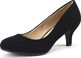 Dream Pairs Womens Slip On Low Kitten Heels Round Toe Pump Court Shoes Luvly Black Nubuck Size 6.5 US/ 4.5 UK