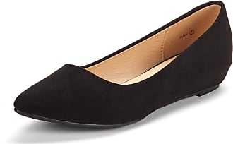 Dream Pairs Womens Jilian Slip On Pointed Toe Low Wedge Ballet Flats Pumps Shoes Black Suede Size 6.5 US / 4.5 UK