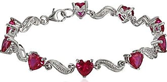 Amazon Collection Sterling Silver Created Ruby and Diamond Accent Heart Wave Bracelet, 7.25