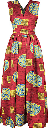EmilyLe Womens African Boho Vintage Dress Elegant Floor Length High Waist Multiway Bandage Dress Ethnic Costume (S, Red Circle)