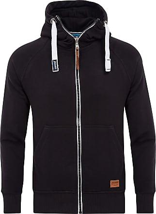 Yazubi Mens Full Zip Midweight Hoodies Jacob - Men Vintage Dark Sweatshirts Hoody, Black (Black 2R194008), XS