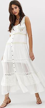 Aratta Gelaagde lange jurk met borduursel-Wit