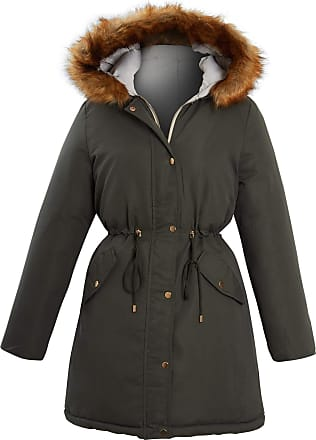 Shelikes Womens Ladies Khaki Reversible Faux Fur Hood Trim Padded Parka Coat Size[Khaki UK 12]