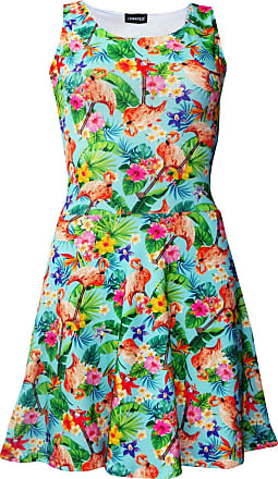 Insanity Tropical Flamingos Flowers Floral Sleeveless Skater Dress (M/L) Blue