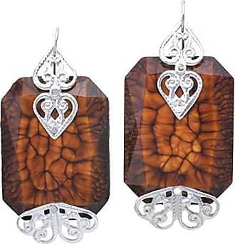 Tinna Jewelry Brinco Prateado Chaton Com Coração (Marrom)