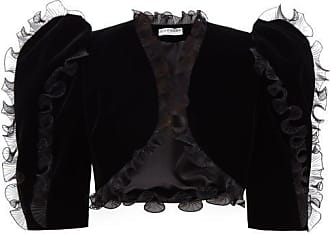 Givenchy Plissé Ruffled Velvet Bolero Jacket - Womens - Black