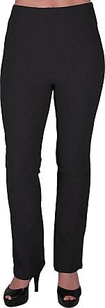 Eyecatch Womens Pull On Ribbed Stretch Bootleg Elasticated Trousers Ladies Pants Regular Leg Black Size 24