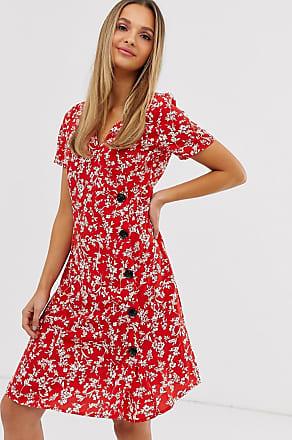 Vila floral asymmetric button dress-Multi