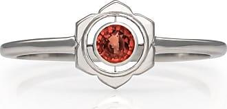 Zoe & Morgan Sakraler Chakra-Ring aus Silber und Orangensaphir - Medium - Silver/Orange